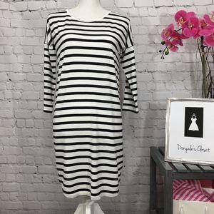 Press Striped Jersey Knit Drop Sleeve Midi Dress